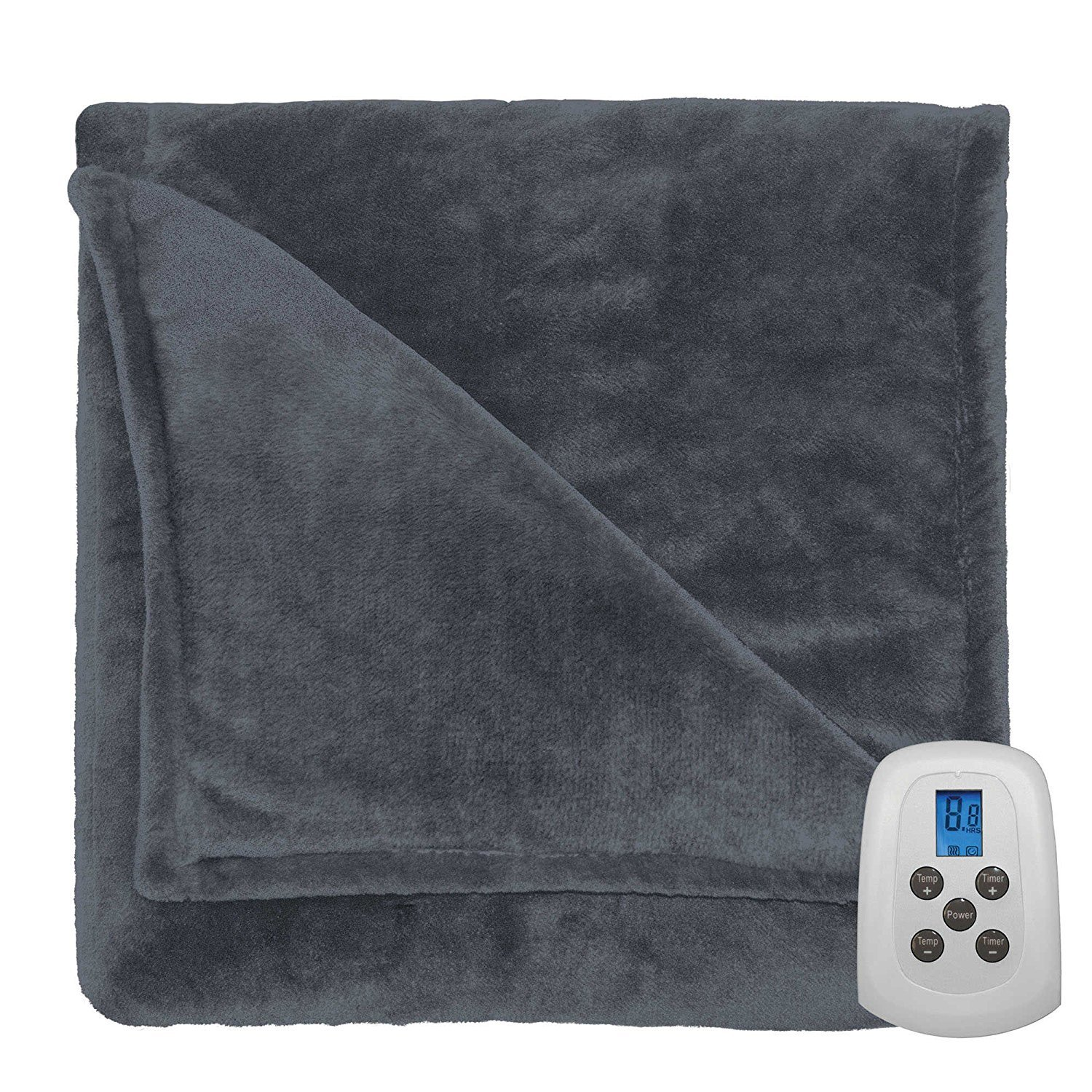 Therapedic Programmable Silky Plush Warming Blanket, Ash, Queen