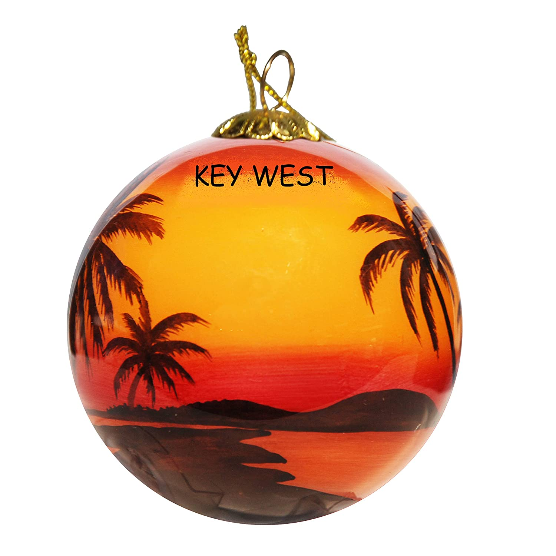 Sunset Palms Key West Art Studio Company Hand Painted Glass Christmas Ornament