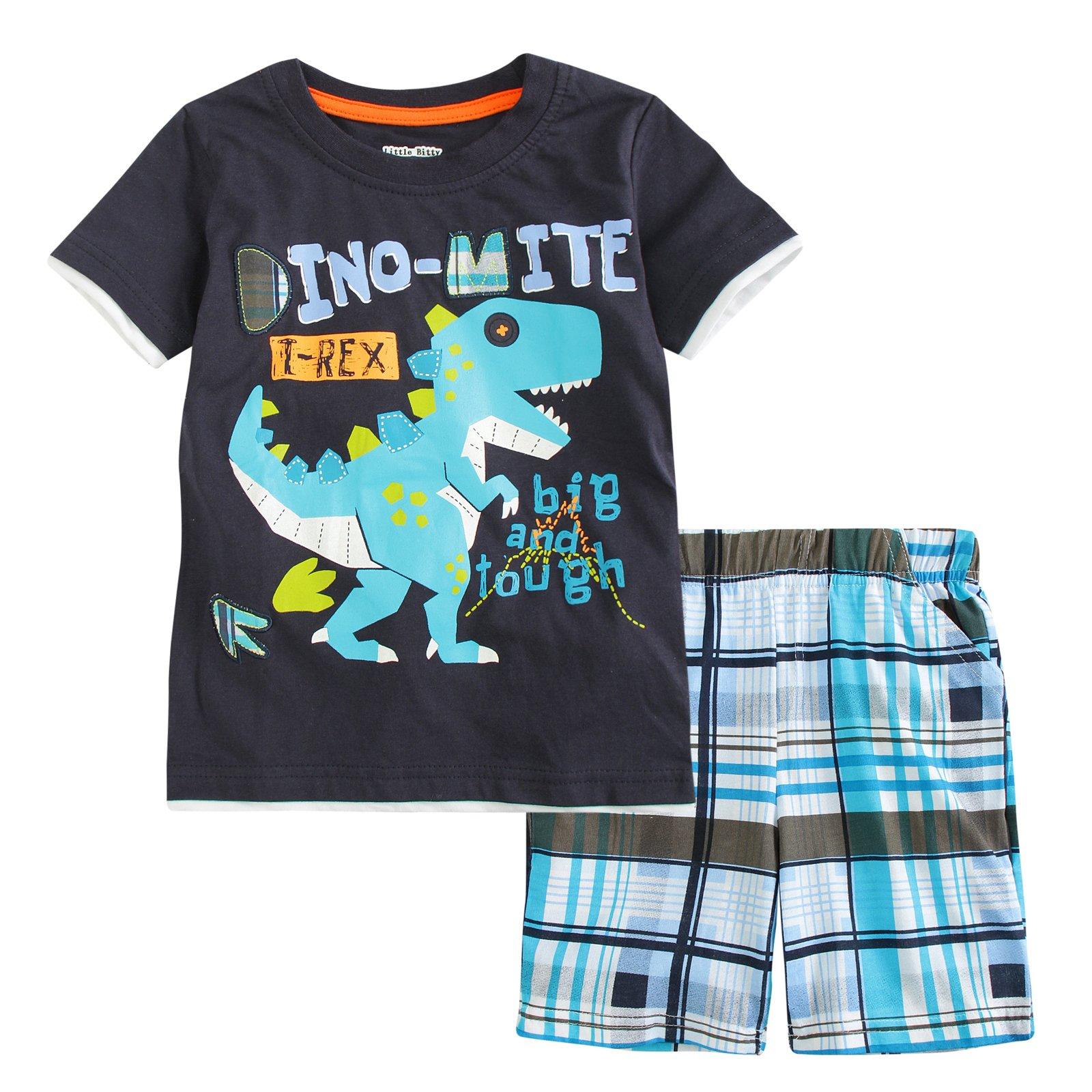 Little Bitty Little Boy Short Set Summer Cotton Clothing Set Shorts Set Black 2T