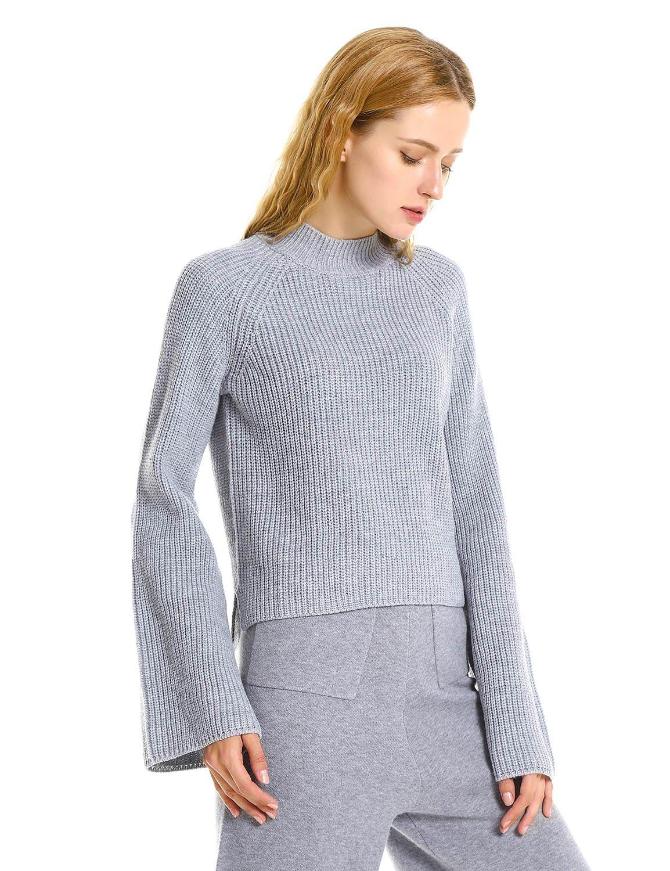 ZAN.STYLE Women Long Sleeves Gray Mock Turtleneck Knitted Sweater (XL)