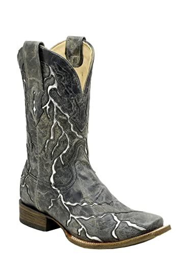 22780e6baa8 Amazon.com | CORRAL Men's Black Lightning Square Toe Cowboy Boots ...