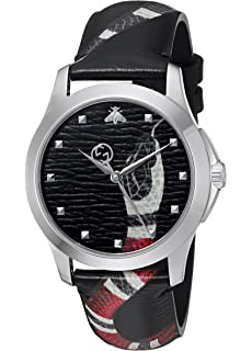 bcf4b66ac20 Gucci Quartz Stainless Steel and Leather Casual Black Men s Watch(Model   YA1264007)