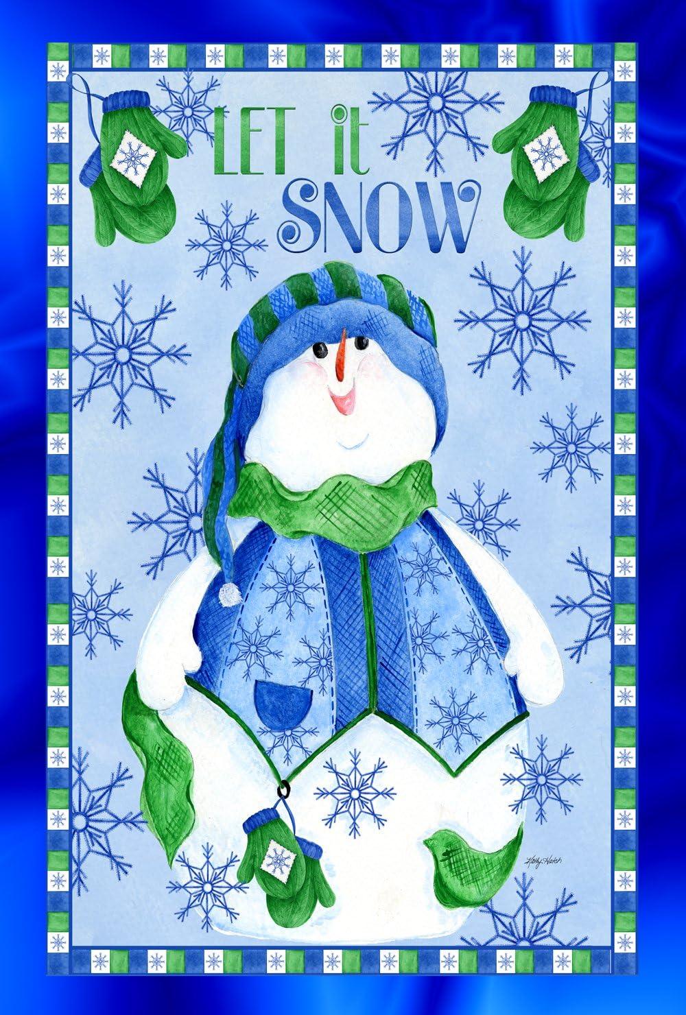 Toland Home Garden Snowman Mitten 28 x 40 Inch Decorative Winter Snowflake Let It Snow House Flag - 109712