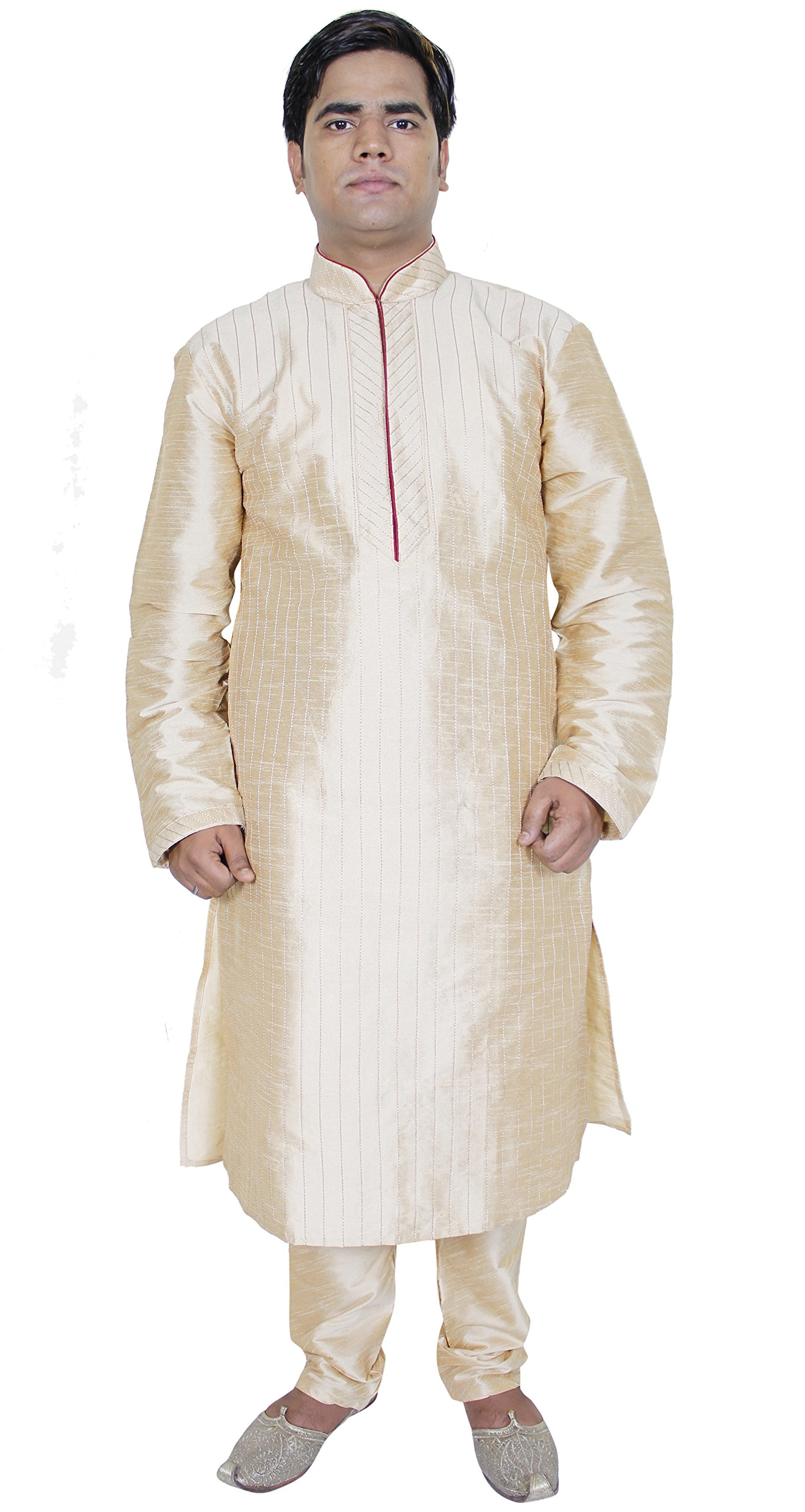 Indian Kurta Pajama Men Long Sleeve Shirt Pyjama Set Ethnic Wear Wedding Outfit -M
