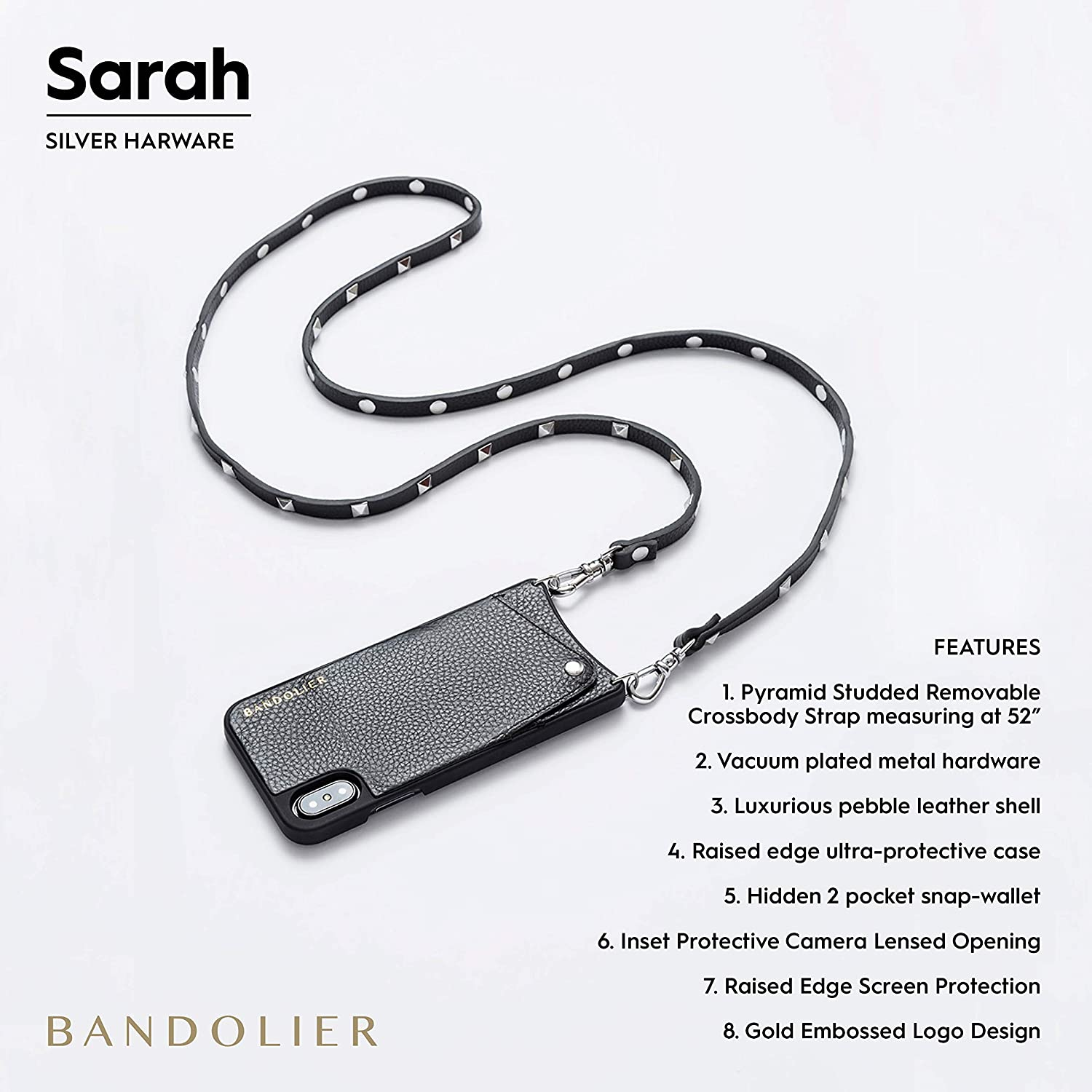 Black Leather Wallet with Silver Plated Guitar Emblem