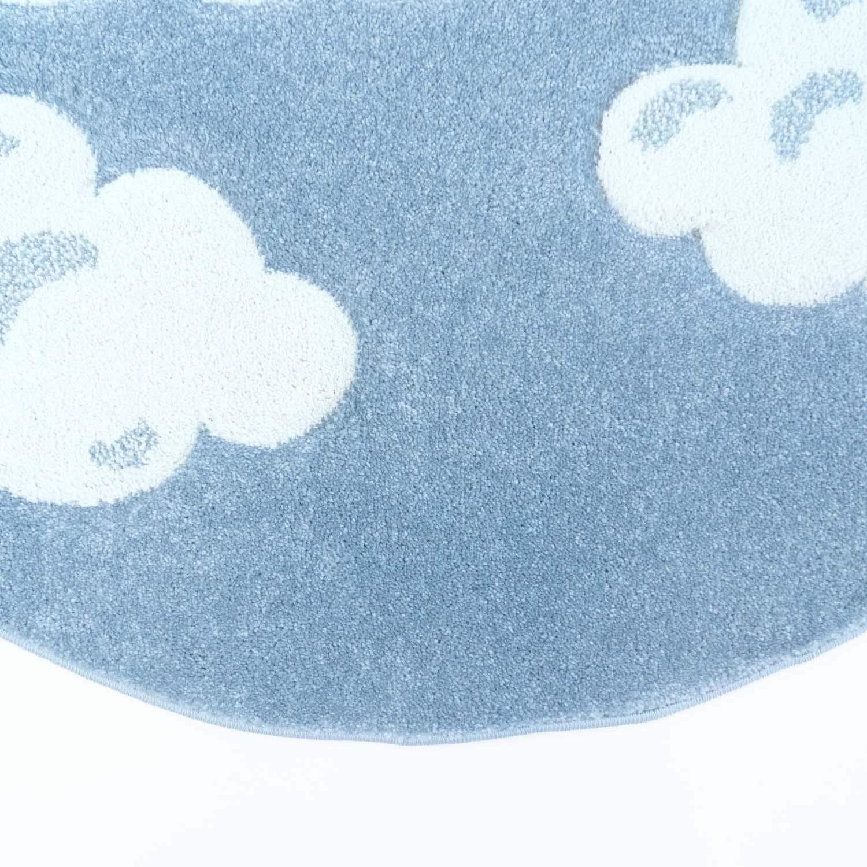 Taracarpet Kinder Teppich für Das Kinderzimmer Bueno Hochwertig mit mit Hochwertig Konturenschnitt Blau verträumte Wolken 160x160 cm rund 816236