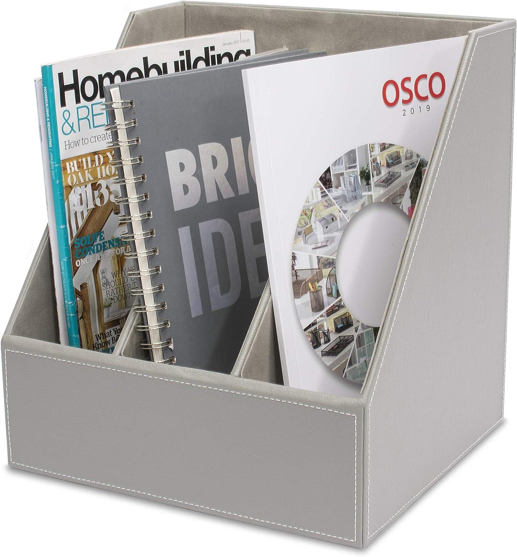 . triple Osco Bac /à magazines Imitation cuir Gris