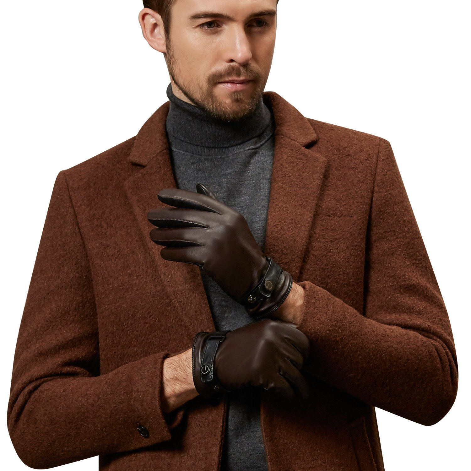 GSG Gifts for Men Premium Italian Winter Warm Motorcycle Gloves Men's Driving Gloves Colorblock Nappa Leather Faux Fur Liner 9