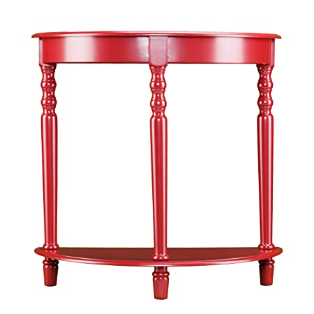 Tyra Demilune Accent Table – Small Wall Table – Unique Red Finish