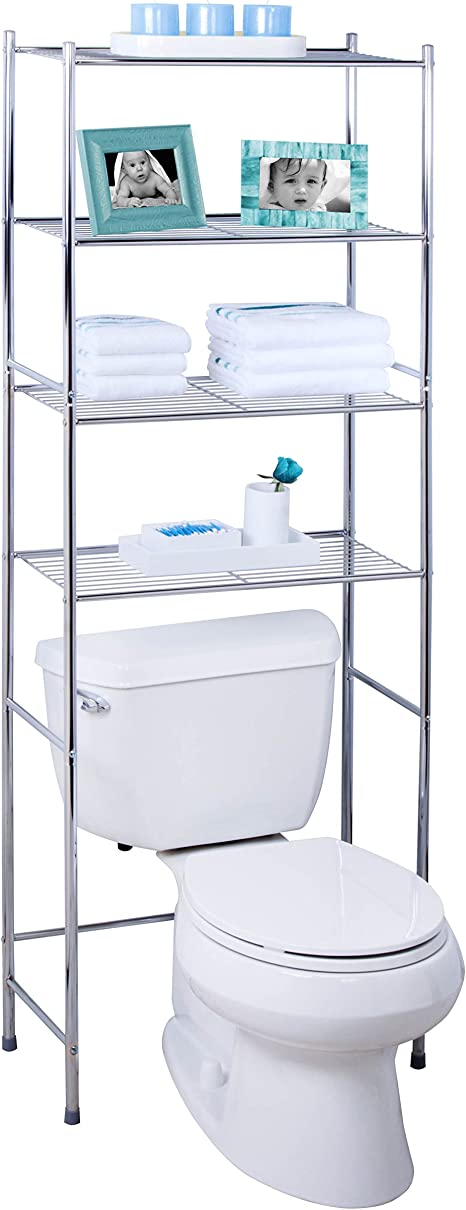 Honey-Can-Do BTH-05281 4-Tier Metal Bathroom Shelf Space Saver, 24.02 x 11.02 x 67.72, Chrome best bathroom storage solutions