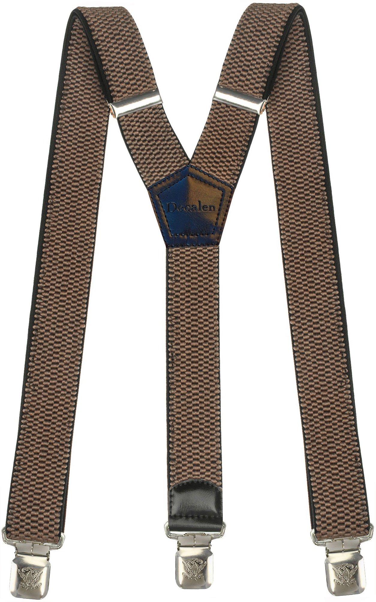 Msendro Men's Suspenders Y Shape Adjustable Elastic Heavy Duty Clip on Braces X-Large Dark Beige