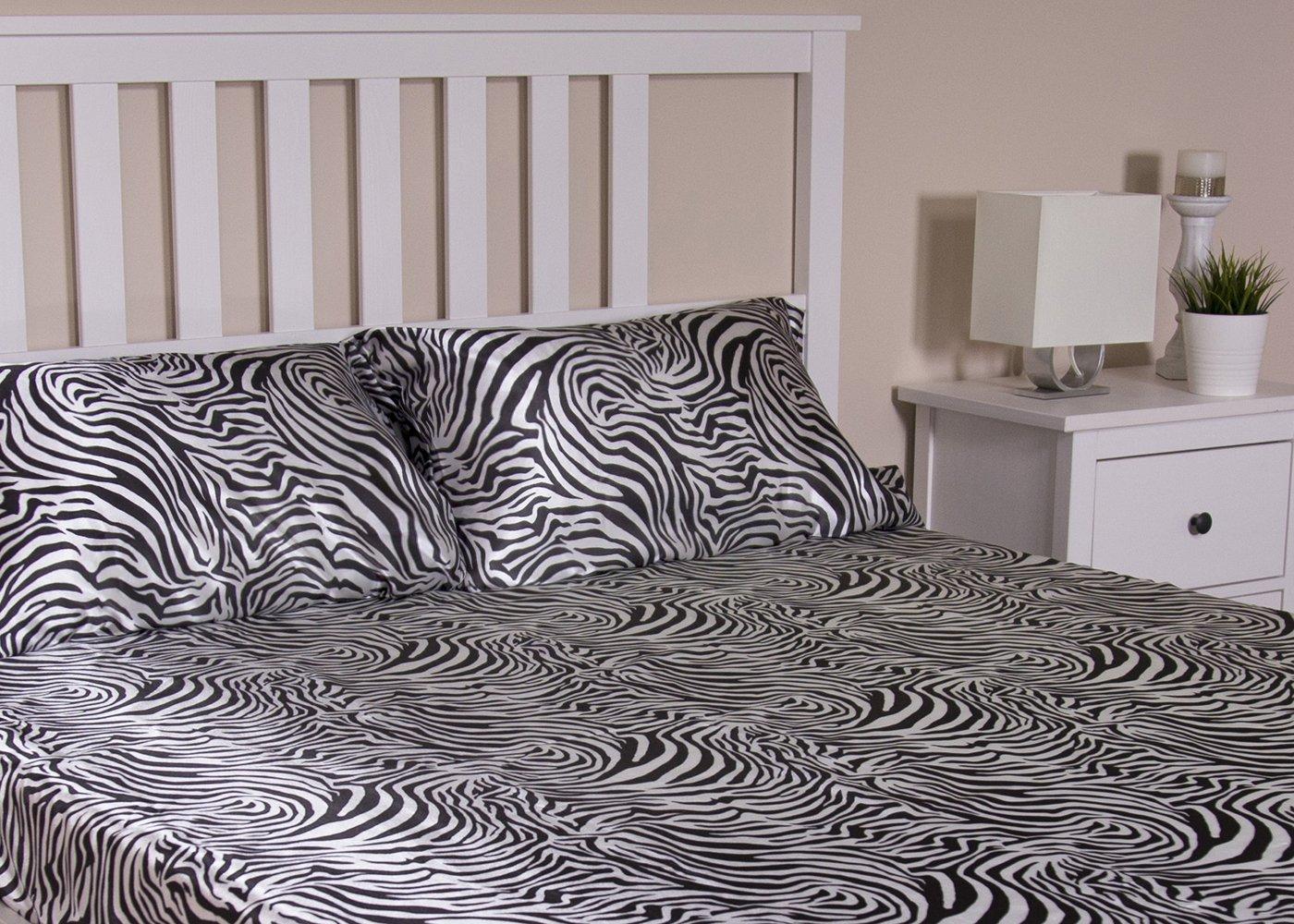 HONEYMOON HOME FASHIONS Queen Sheet Set Luxury Silkily Like Satin Bed Sheets, Zebra by HONEYMOON HOME FASHIONS (Image #2)