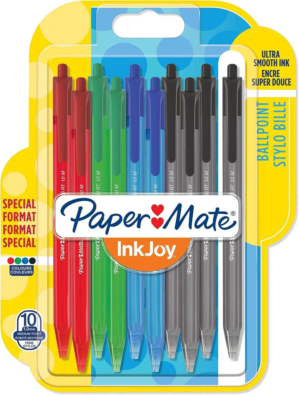 PaperMate InkJoy 100RT - Bolígrafo retráctil, punta media de 1mm, paquete de 10, colores estándares surtido