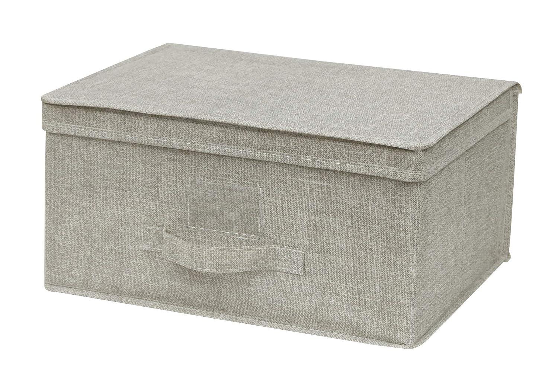 Cflagrant scatola portaoggetti tessuto pieghevole rinforzato L DIM: 34 x 24 x 15 cm Con Coperchio E MANICO beige