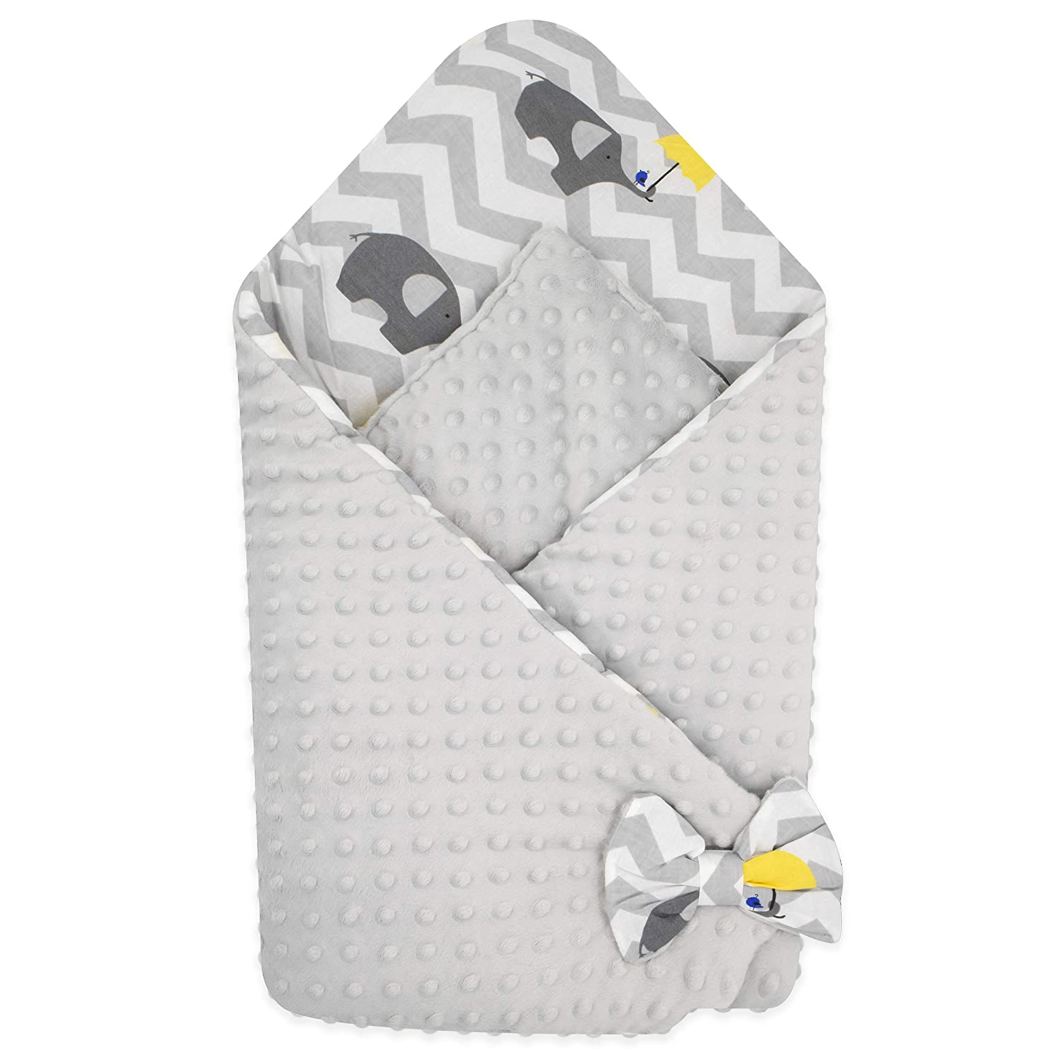 BlueberryShop Minky Fleece Baby Swaddle Wrap Car Seat Blanket Perfect as a Baby Shower Gift Grey 78 x 78 cm Two-sided Sleeping Bag for Newborns Intended for Kids Aged 0-3 Months
