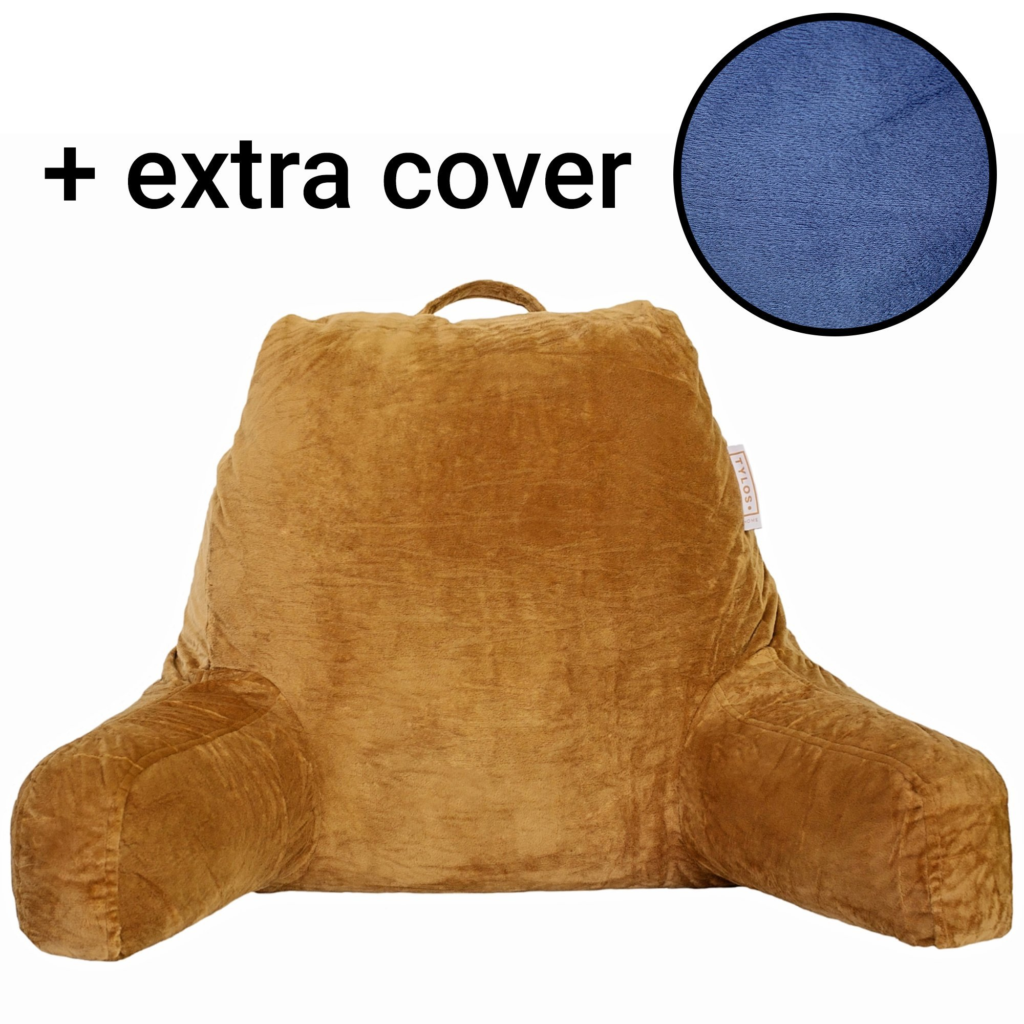 New 2018 Reading Pillow with Two Covers Pack – Pillow with Arms - Removable and Washable Velour Cover - Shredded Foam Back Support Cushion for Adults Teens Kids
