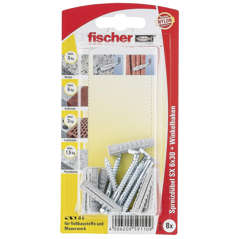 059110 8 x Winkelhaken 4,2 x 40 Fischer Spreizd/übel SX 6 x 30 H K SB-Karte
