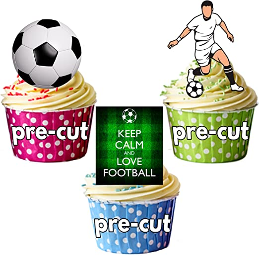 PARTY PACK - 36 x la portería de fútbol balones de mezcla oblea comestible primeros de la torta de pie figurines cumpleaños del niño: Amazon.es: Hogar