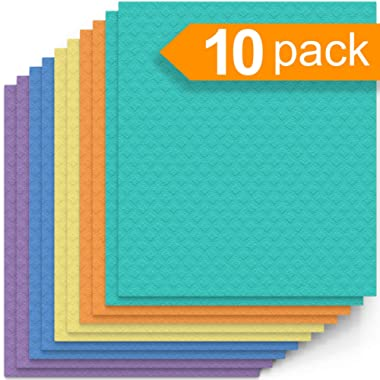 Swedish Dishcloth Cellulose Sponge Cloths – Bulk 10 Pack of Eco-Friendly No Odor Reusable Cleaning Cloths for Kitchen – Absorbent Dish Cloth Hand Towel (10 Dishcloths – Assorted)
