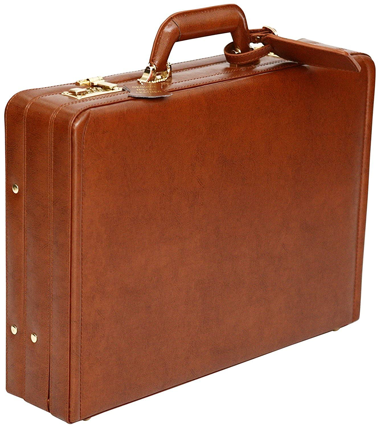 Tassia Bonded Leather Attaché Briefcase - Internal Expanding Filing Pockets Accessory
