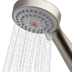YOO.MEE High Pressure Handheld Shower Head with Powerful Shower Spray against Low Pressure Water Supply Pipeline, Multi-functions, w/ 79'' Hose, Bracket, Flow Regulator, Brushed Nickel