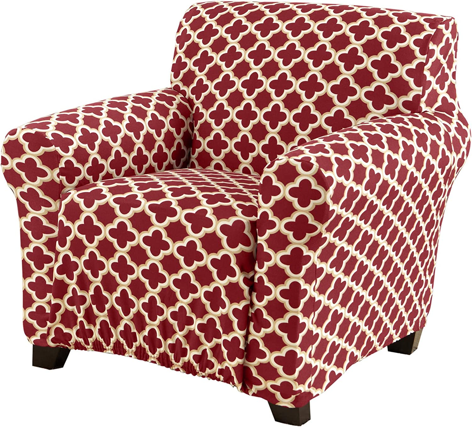 Printed Twill Arm Chair Slipcover. One Piece Stretch Chair Cover. Strapless Arm Chair Cover for Living Room. Fallon Collection Slipcover. (Chair, Burgundy)