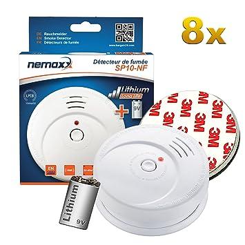 8X Detector de Humo Nemaxx SP10-NF Blanco - Detector de Humo Sensible tecnología fotoeléctrica de Acuerdo con DIN EN 14604 con Certificado NF + 8X Fijación ...