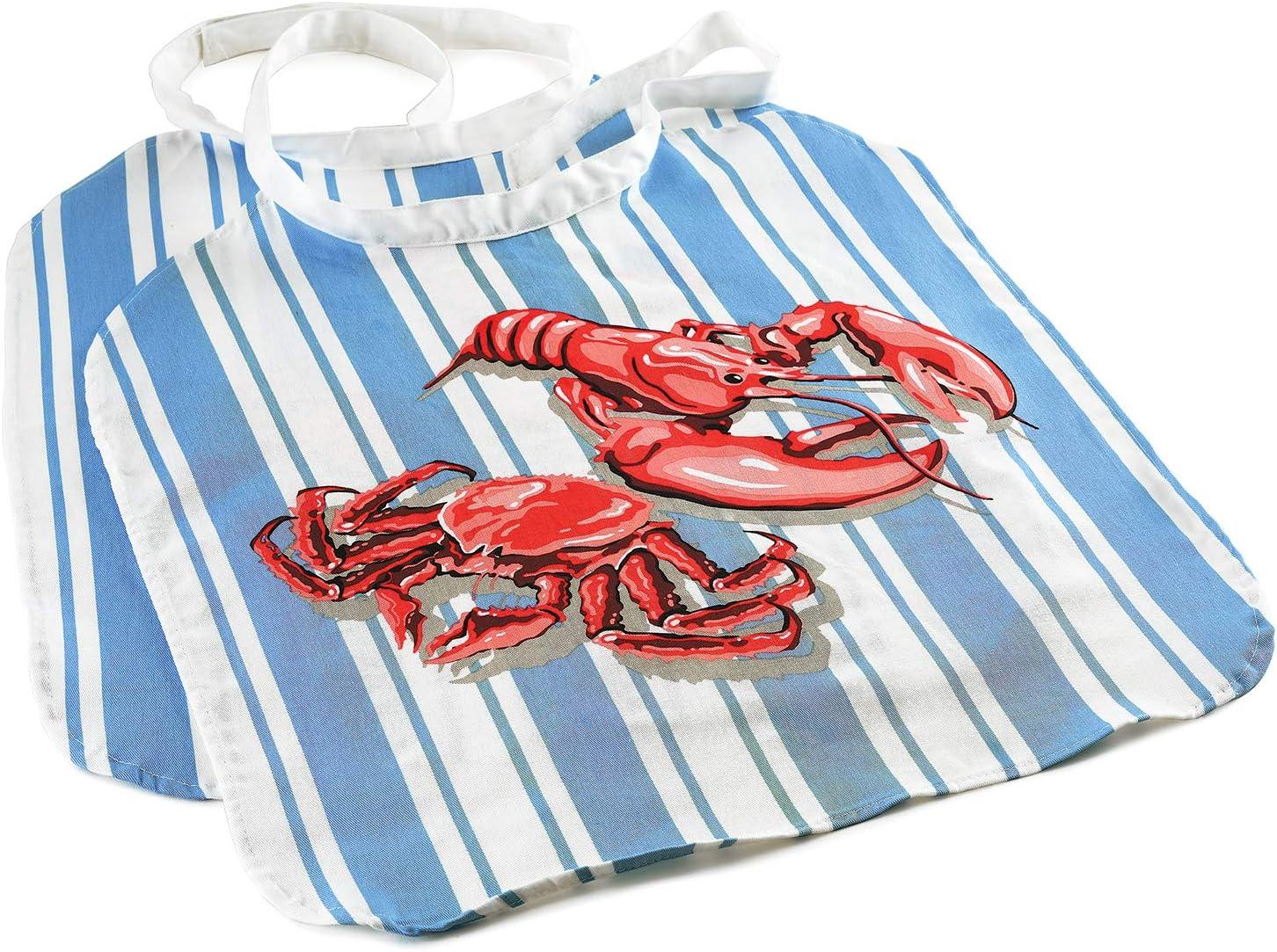 Norpro Seafood Bib, One-Size (Set of 2), Blue/Red