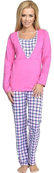 Be Mammy Mujer Lactancia Pijamas Dos Piezas Grete (Rosa, L)
