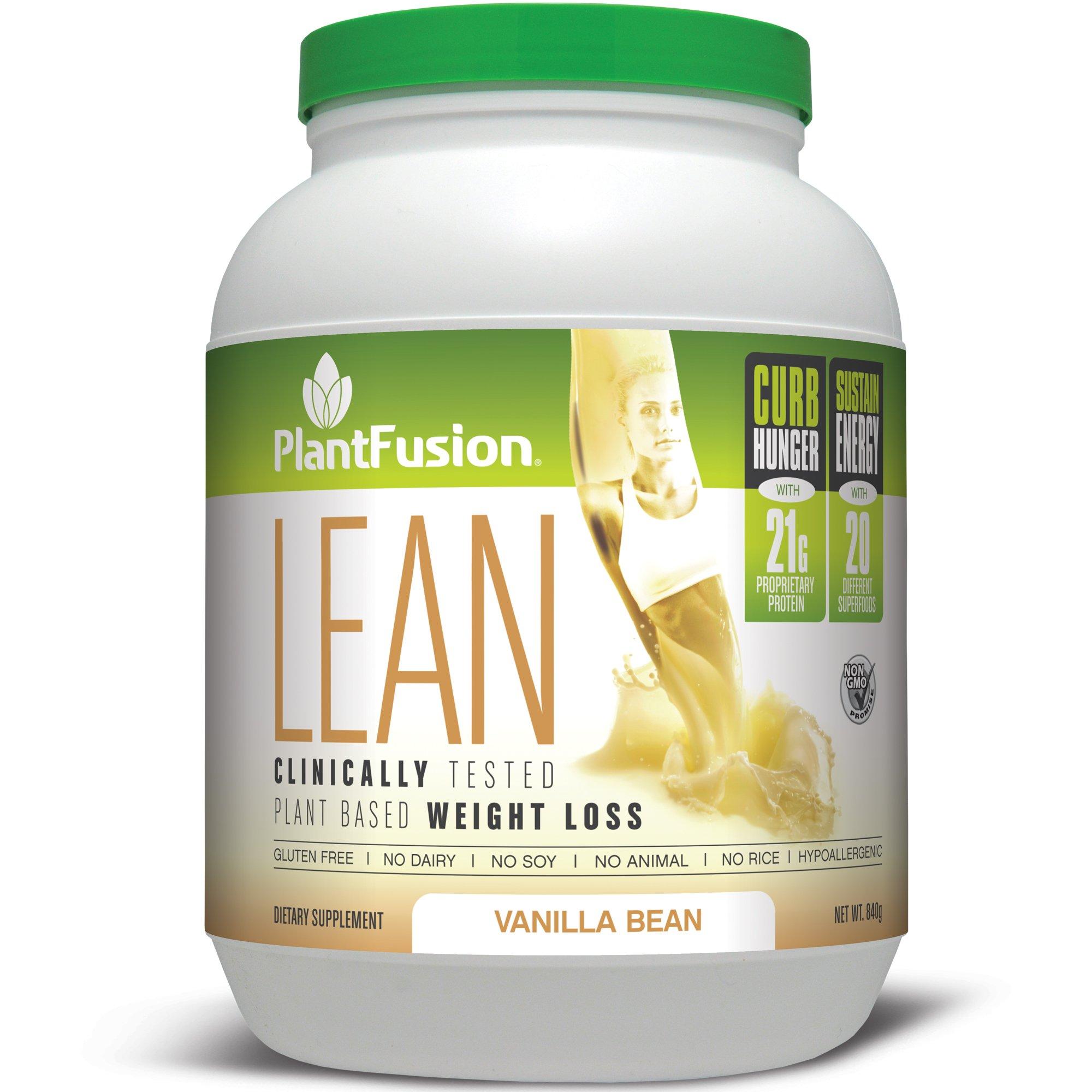 PlantFusion Lean Plant Based Weight Loss Protein Powder, Vanilla Bean, 29.06 oz Tub, 20 Servings, 1 Count, Gluten Free, Vegan, Non-GMO by PlantFusion