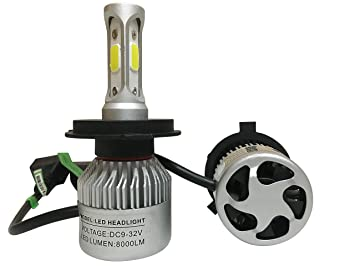 H4 LED 72W 8000LM Bombillas Led para Faros Delanteros de Coche, Kit LED H4 6500K