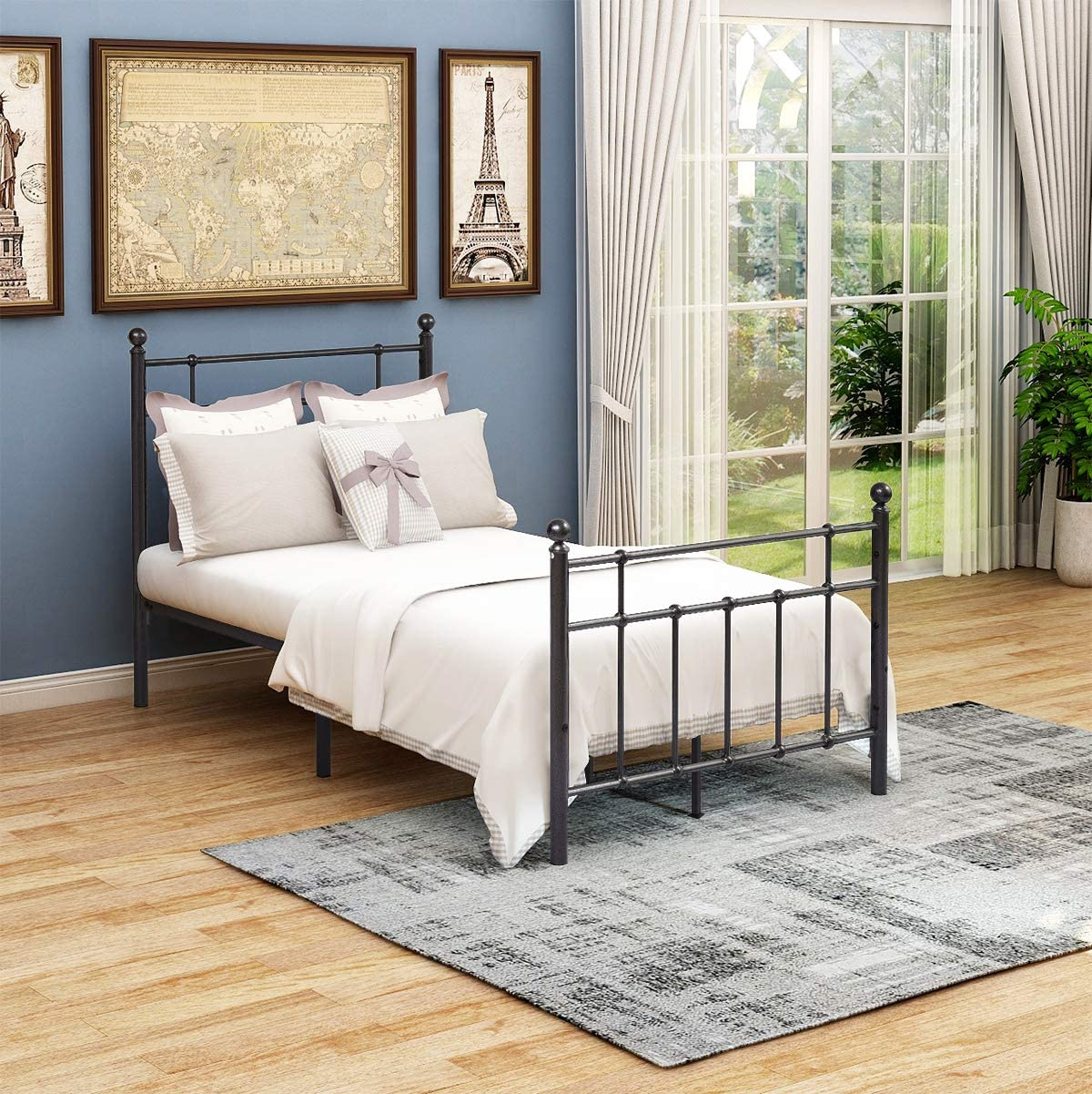 JURMERRY Metal Bed Frame Twin Size with Headboard and Mattress Foundation Stable Metal Slats Modern Style Twin, Black Silver