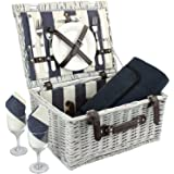 ZORMY Picnic Basket for 2 with Waterproof Blanket, Durable Wicker Picnic Hamper Set, Willow Picnic Basket Accessories Plates