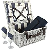 Home Innovation Picnic Basket for 2 with Waterproof Blanket, Durable Wicker Picnic Hamper Set, Willow Picnic Basket…
