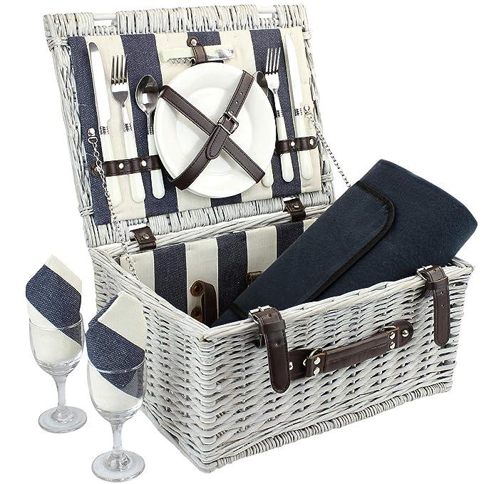 Amazon.com: Home Innovation - Cesta de picnic para 2 ...