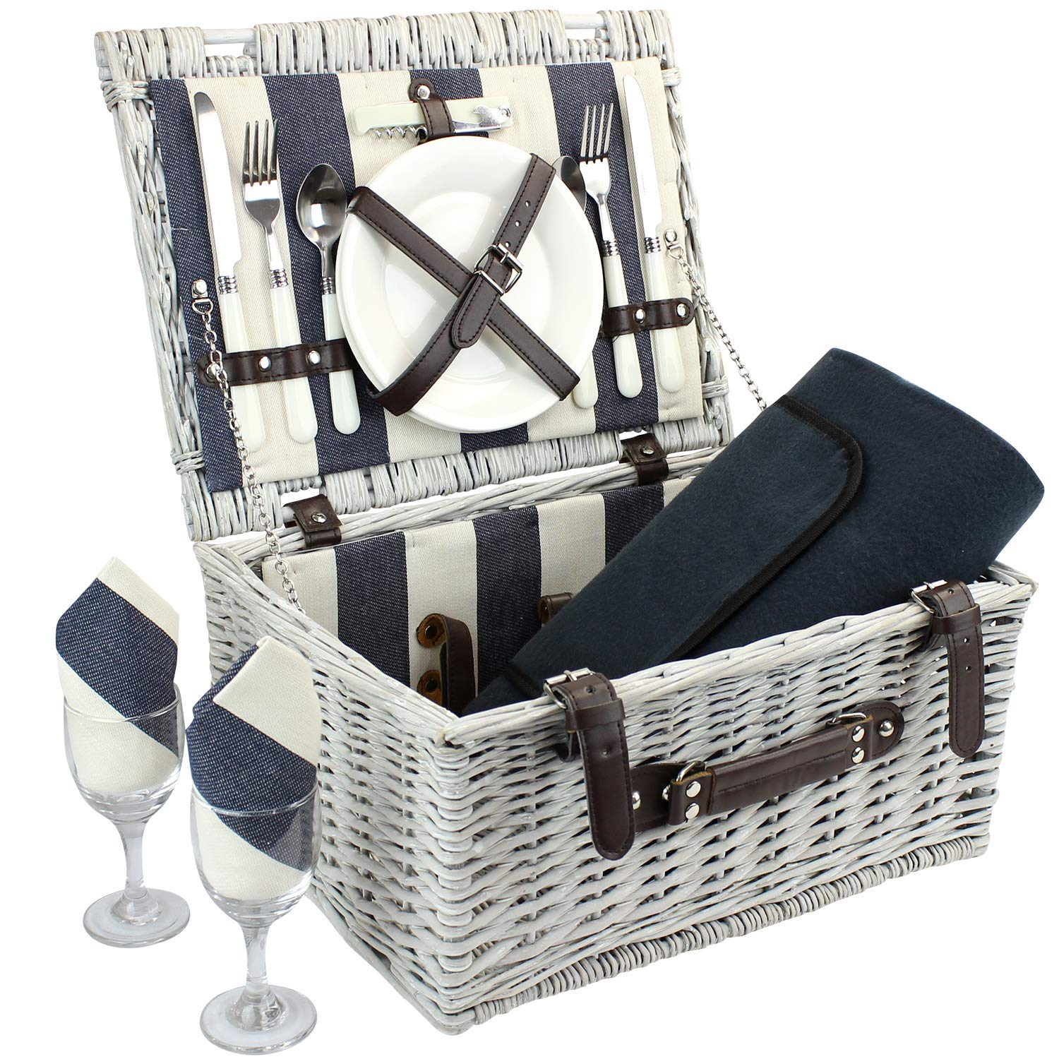Home Innovation Picnic Basket for 2 with Waterproof Blanket, Durable Wicker Picnic Hamper Set, Willow Picnic Basket Accessories Plates and Utensils, Perfect Wedding, Anniversary or Birthday Gift
