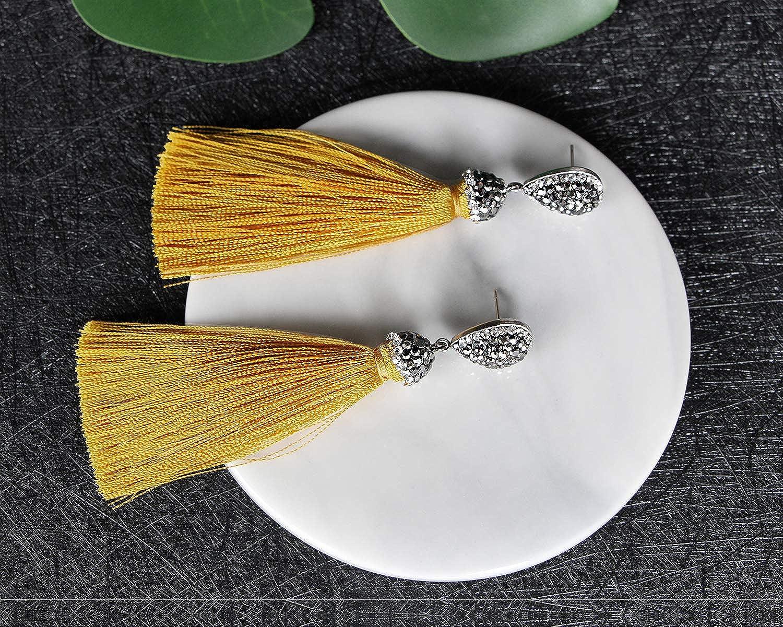 Me/&Hz Thread Tassel Earrings Statement Tassel Dangle Earrings Bohemian Fringe Drop Earrings Gifts for Women