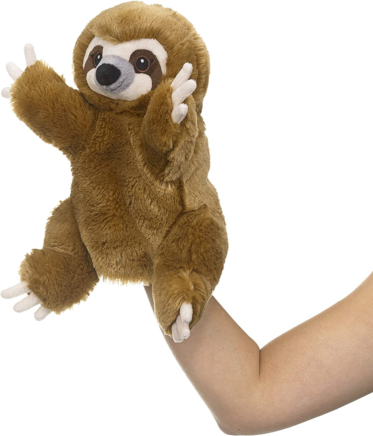 """Eco Pals Sloth Puppet by Wildlife Artists, Stuffed Animal Plush Puppet Toy 11"""", Eco-Friendly, Embroidered Eyes and Noses, Made from 100% Post-Consumer and Recycled Materials"""