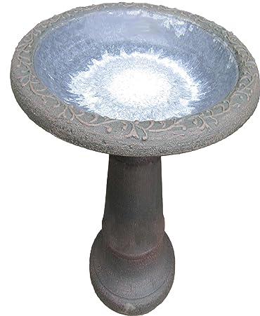 Tierra Garden 4 8177 Fiber Clay Bird Bath With Gloss Bowl, 25 Inch