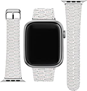 Lex Altern Wristband Compatible for Apple Watch Series 1/2/3/4/5/6/SE Art Print Simple Bracelet Cute Drawing Design Band Elegant Geometric Slim Replacement Strap 38-40-42-44 mm PU Leather Tribal