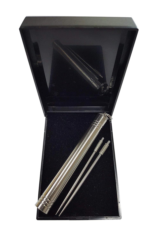 Stuzzicadenti multifunzione in titanio, con custodia portatile e leggera, attaccabile al portachiavi/catenella; stuzzicadenti da viaggio in metallo, utilizzali con discrezione quando ceni fuori 2 Moor Ltd