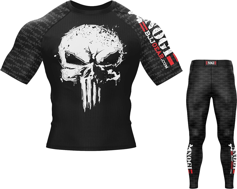 MMA Grappling and Wrestling Long Sleeve and Short Sleeve No Gi BJJ Compression Rash Guard /& Spats for Jiu Jitsu