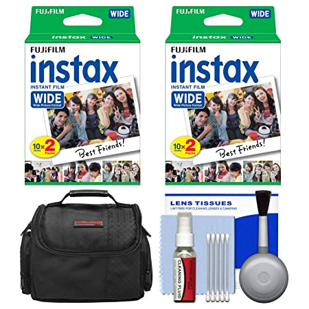 Essentials Bundle for Fujifilm Instax 210 & Wide 300 Instant Film Camera with 40 Wide Prints + Case + Cleaning Kit Accessory Kits at amazon