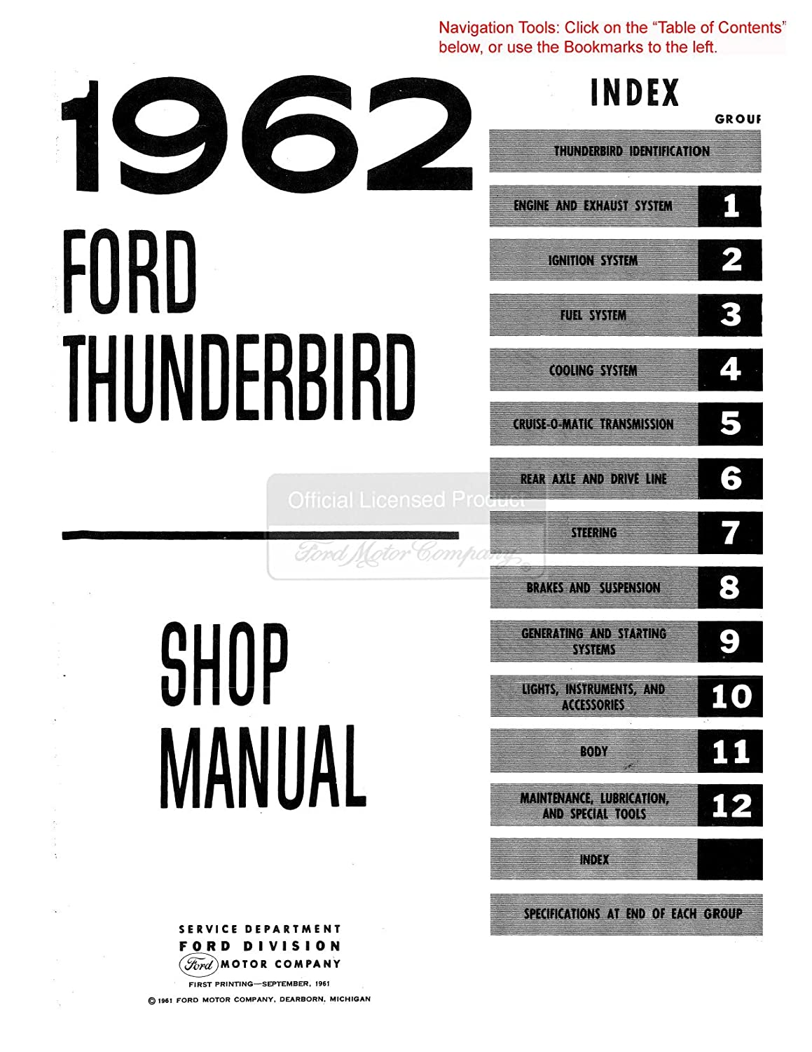 Bishko Automotive Literature 1961 1962 1963 Ford Thunderbird W Wiring Diagram For Convertible Top Tops Manual Shop Cd Oem Tools Equipment Amazon Canada