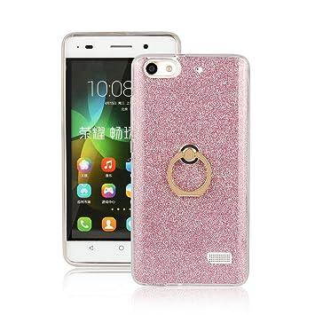 pinlu Funda Para Huawei G Play Mini/Honor 4C Anti-Arañazos Función Flash Brillante Suave TPU Silicona Case Ultra Delgada Hebilla del Anillo Soporte ...