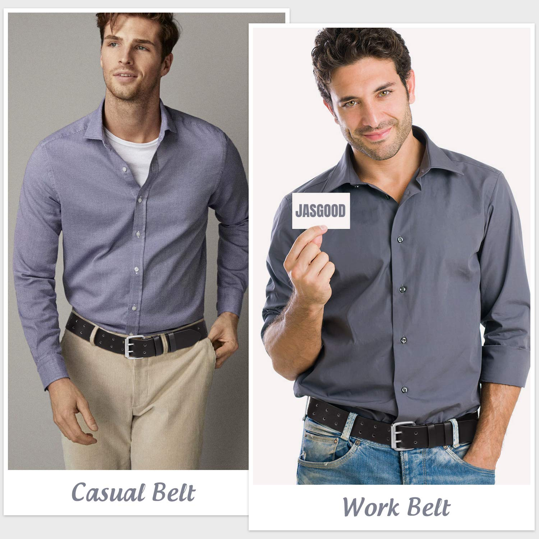 JASGOOD Men Double Prong Belt,Black Work PU Leather Belts for Men Jeans-Casual Leather Belt for Pants-2 Holes Belt(Black,Fit pant size below 33Inch)