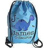 The Supreme Gift Company Personalised Kids Blue Dinosaur Drawstring Swimming, School, PE Bag For Boys
