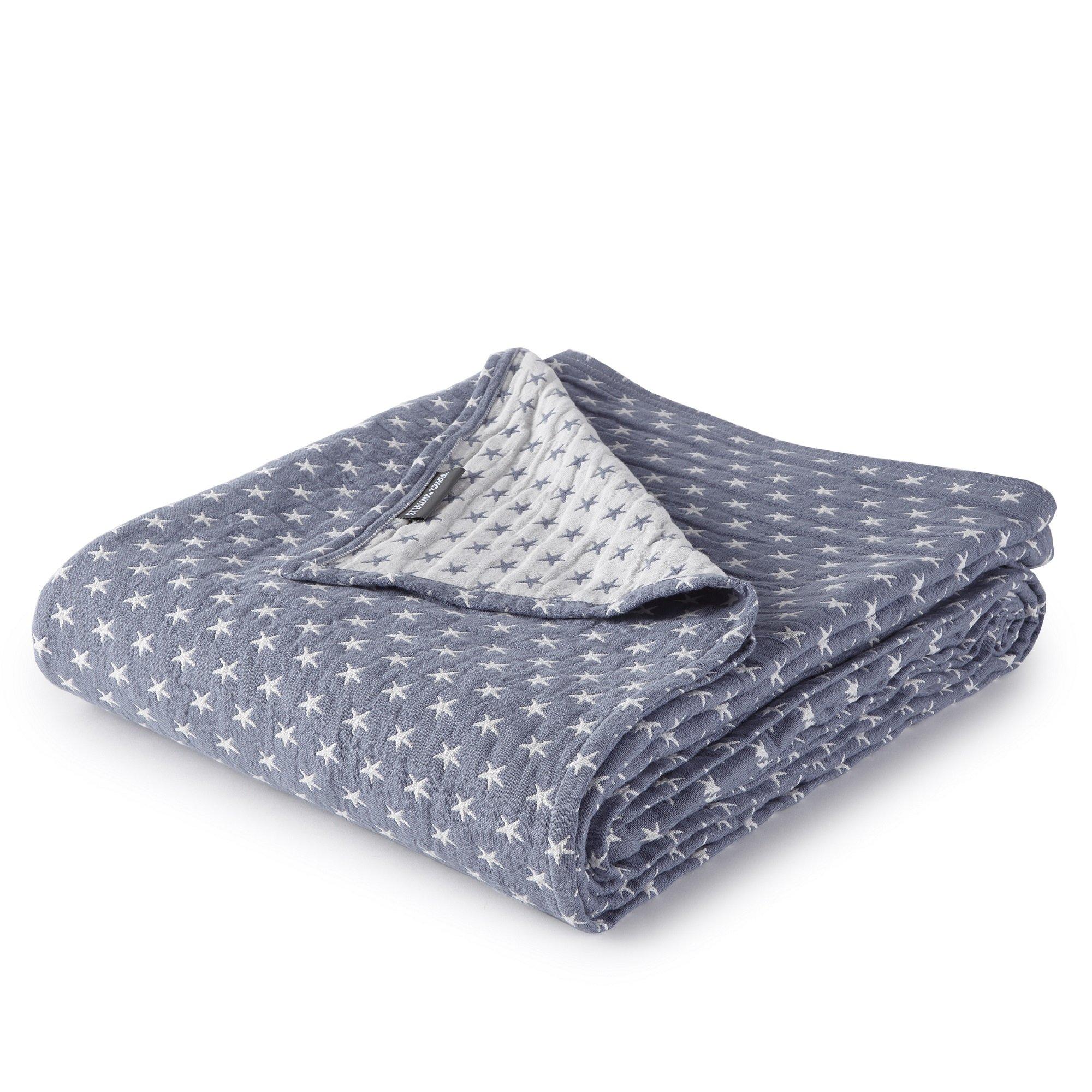 Dawson Star Three Layers Lightweight 100% Soft Washed Cotton Gauzy Blanket (King, Blue)