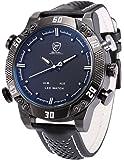 Shark - SH264 - Montre Homme - Quartz - LED/Date/Jour/Alarm - Digital Analogique - Bracelet Cuir Noir Blanc