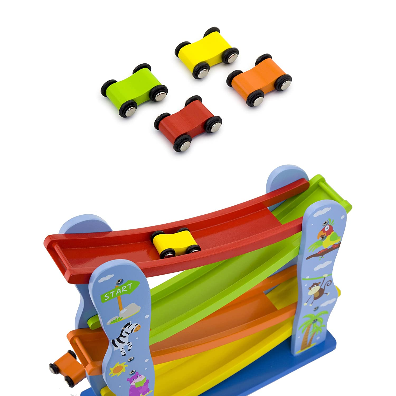 Vortigern Wooden Childrens Toy Zig Zag Car Run Slider